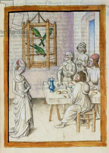 Ms 680/1389 Men at a table and a woman, from 'The Fables of Bidpai', c.1480 (w/c on paper)