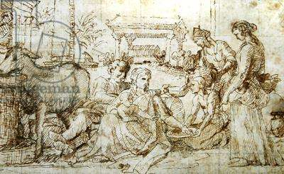 The Rest on the Flight into Egypt, c.1656-57 (pen & ink on paper)