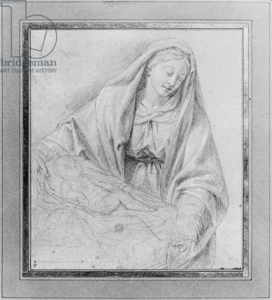 The Virgin holding the Child in his cradle (black and white pencil on grey paper) (b/w photo)
