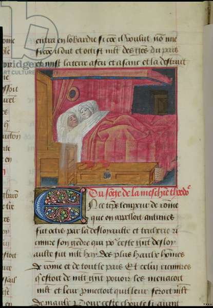 Ms 869/522 fol.6v Couple in Bed, 1217-37 (vellum)