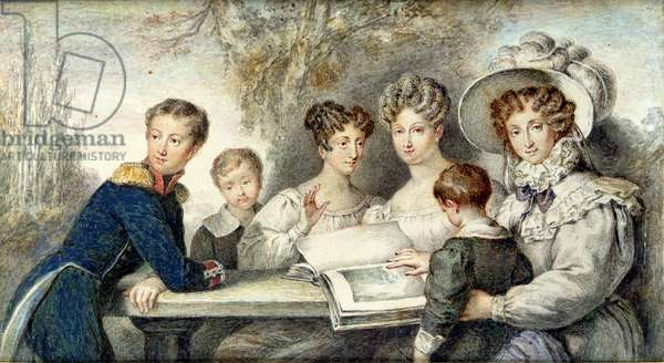 The Orleans Family, 1825 (w/c on paper)