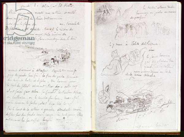 Album of North Africa and Spain: horsemen, landscape and various others, 1832, (ink on paper)