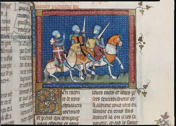 Ms 137/1687 f.144r Three knights leaving a tournament (vellum)