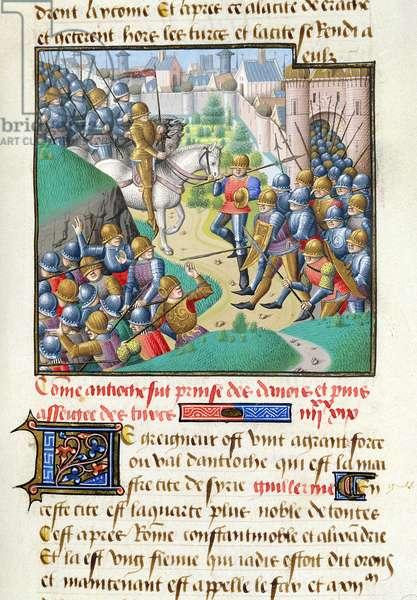 Ms 722/1196 fol.182r The Siege of Antioch, from Le Miroir Historial, by Vincent de Beauvais (vellum)