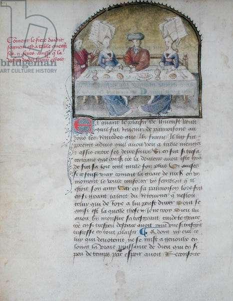 Ms 653/924 fol.23 A Feast, from 'Le Paradis de la Reine Sibylle' by Antoine de La Sale (1385-1460) before 1456 (vellum)
