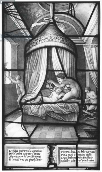 Psyche Discovering Cupid, from the Galerie de Psyche, Chateau d'Ecouen, 1542-44 (stained glass) (b/w photo)