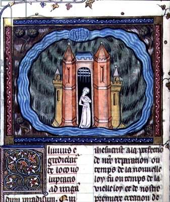 Ms 137/1687 f.182v The city of the Soul, from the 'Collection of Treatise on Devotion, (c.1371-78)' (vellum)