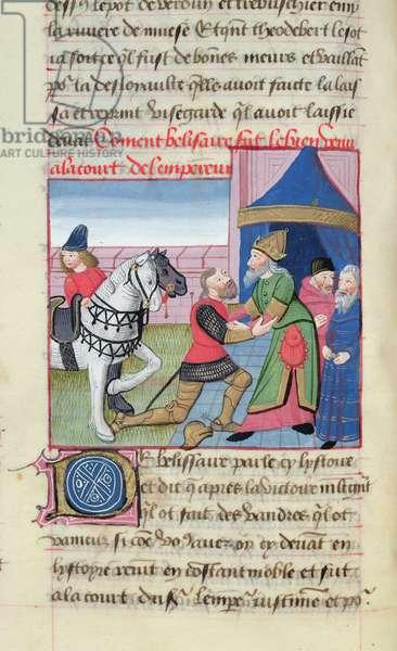 Ms 869/522 fol.33v Belisarius Received by Emperor Justinian I (482-565), 1217-37 (vellum)