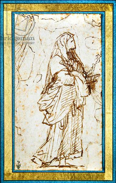 Study of a woman (pen & ink on paper) (recto of 423430)