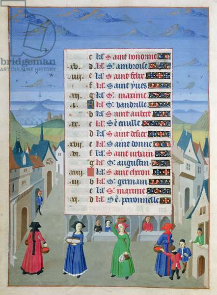 Ms 76/1362 f.5v May: A Street Scene, from the Hours of the Duchess of Burgundy, c.1450 (vellum)