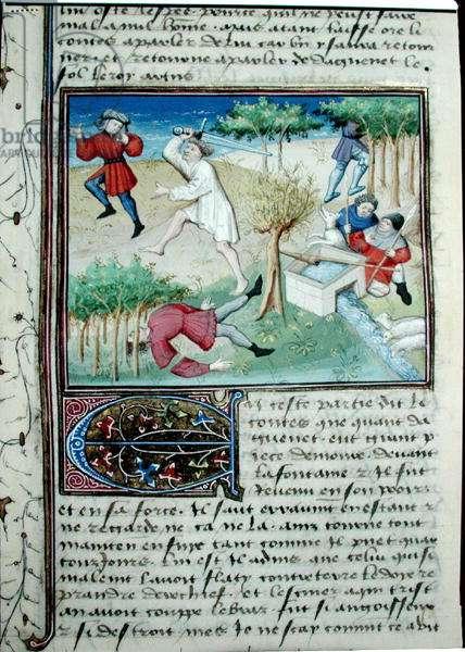 Ms 648/404 fol.146r Daguenet the Mad defending the shepherds near the fountain, from the 'Roman des Chevaliers Galaad, Tristan et Lancelot' (vellum)