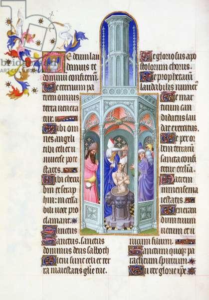 Ms 65/1284 fol. 37 Baptism of St Augustine by St Ambrose, Très Riches Heures du Duc de Berry (vellum)