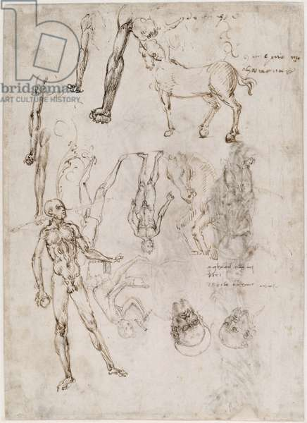 Sheet of studies with men and horses, seated man striking an anvil, two heads of saints (verso) (pen & ink on paper)
