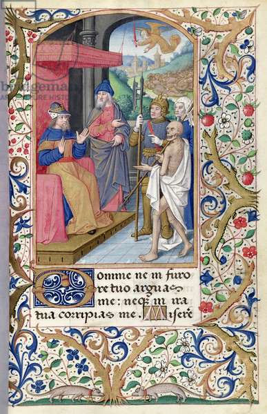 Ms 81/1057 fol.72 Nathan shows War, Plague and Death to King David, from the 'Heures de Nicolas Le Camus' (vellum)