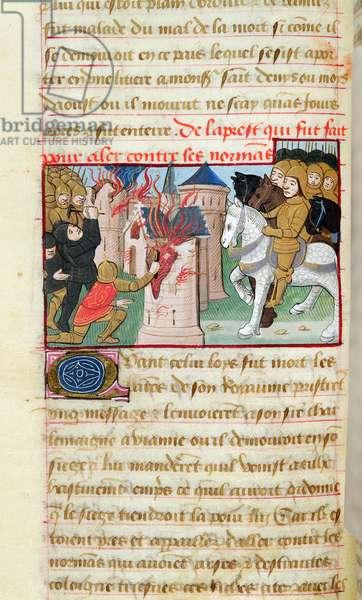 Ms 969/522 fol.250v War against the Normans, 1217-37 (vellum)