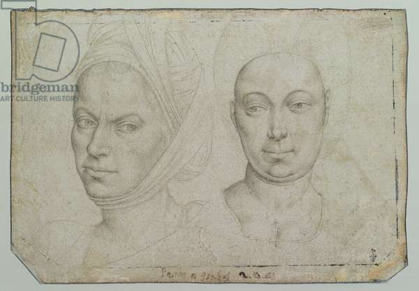 Two Women's Heads (pencil on paper) (verso) (see 160163 for recto)
