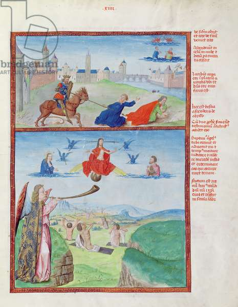 Ms 724/1596 fol.14r The Two Witnesses Massacred by the Beast and the Resurrection and Ascension of the Witnesses, from 'Liber Floridus' by Lambert de Saint-Omer, c.1448 (vellum)