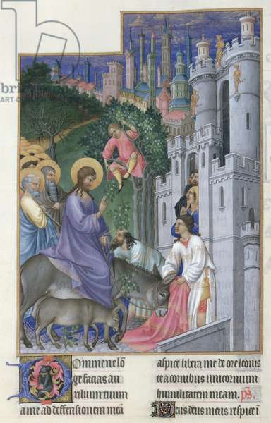 Ms 65/1284 f.173v The Entry of Christ into Jerusalem, from Tres Riches Heures du Duc de Berry, early 15th century (vellum)