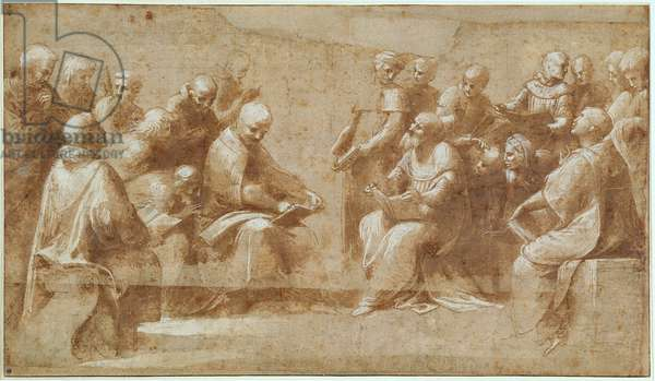 First study for 'The Dispute', detail of the doctors and the faithful of the militant church, 1509 (pen & ink wash on paper)