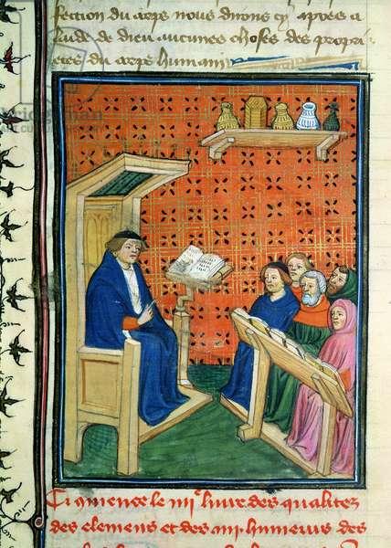 Ms 339/1223 fol.28 Teaching, from 'Livre des Proprietes des Choses' by Barthelemy d'Anglais (vellum)