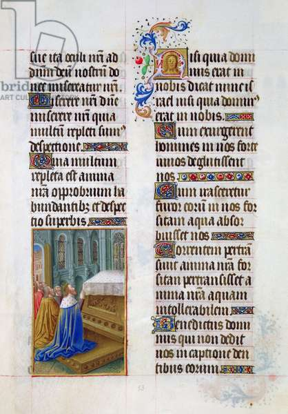 Ms. 65/1284 fol. 53r David in prayer, from 'Très Riches Heures du Duc de Berry' (vellum)