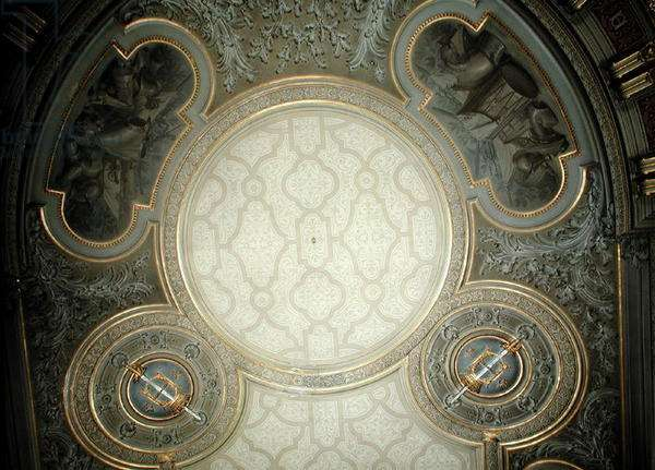 View of the coffered ceiling of the antichamber, 1877-99 (painted plaster)
