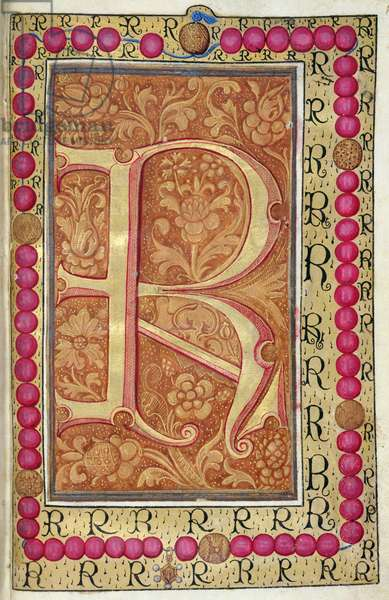 Ms 48/1605 fol.101r Initials in the manuscript for the ritual and ceremonial use of Renee de Bourbon, Abbess of Fontevrault (vellum)
