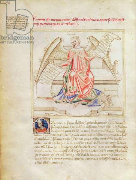 Ms 599/1426 fol.5v Charity and Herod, from 'Panegyric of Bruzio Visconti' written by Bartolomeo da Bologna di Bartoli (fl.1374) (vellum)