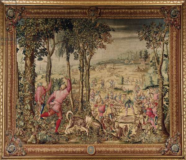 The Hunts of Maximilian, Scorpio; The Stag Hunt: The Rush for the Spoils, Gobelins Factory (tapestry)