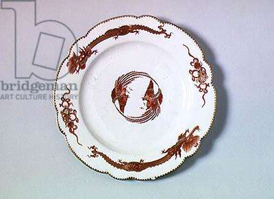 Plate with a Korean dragon design, made in Chantilly (porcelain)