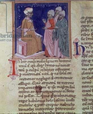 Ms 286/1075 fol.2v Men debating, from the Latin edition of 'Libellus de Moribus' written by Jacques de Cessoles (vellum)