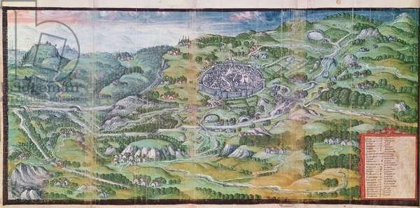 View of the town of Besse-en-Chandesse, from 'Terrier de Besse-en-Chandesse' (vellum)