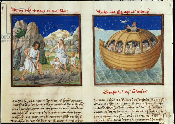 Ms 139/1363 fol.4v Adam digging and Eve spinning with their children Cain and Abel and Noah's Ark at Sea, from 'Le Miroir de l'Humaine Salvation' (vellum)