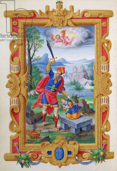 Ms 1476/1943 fol.5v The Sacrifice of Abraham, from the 'Hours of Constable Anne de Montmorency', 1549 (vellum)