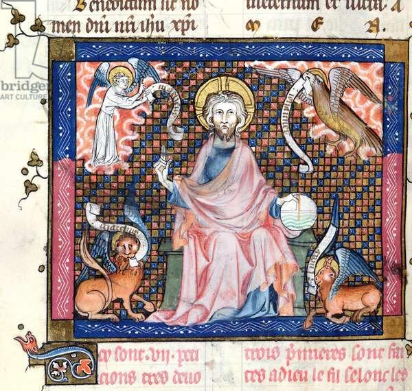 Ms 137/1687 fol.137v Christ enthroned surrounded by the symbols of the four Evangelists, from Recueil de Traites de Devotion, 1371-78 (vellum)
