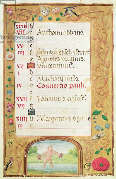 Ms 86/1178 The Month of January, from the 'Heures de la Tour et Taxis' (vellum)
