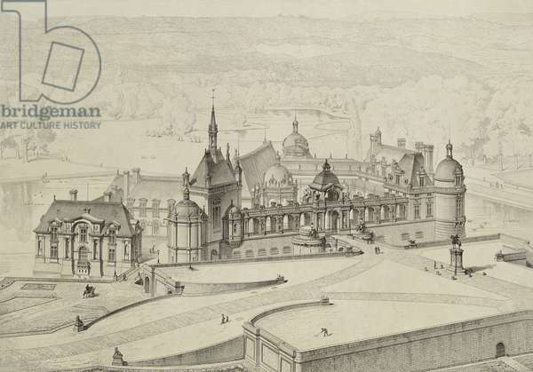 The Chateau de Chantilly, reconstructed by Honore Daumet (1826-1911) after 1886 (pen & ink on paper)