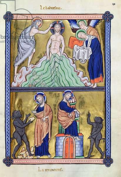 Ms 9/1695 fol.19 The Baptism and Temptation of Christ, from the 'Psautier d'Ingeburg de Danemark', c.1210 (vellum)