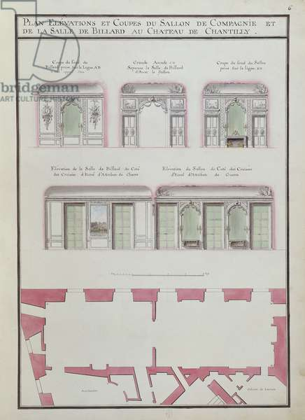 Salon de Compagnie, Château de Chantilly, fol. 6 of the Atlas du Comte du Nord, 1784 (ink & w/c on paper)
