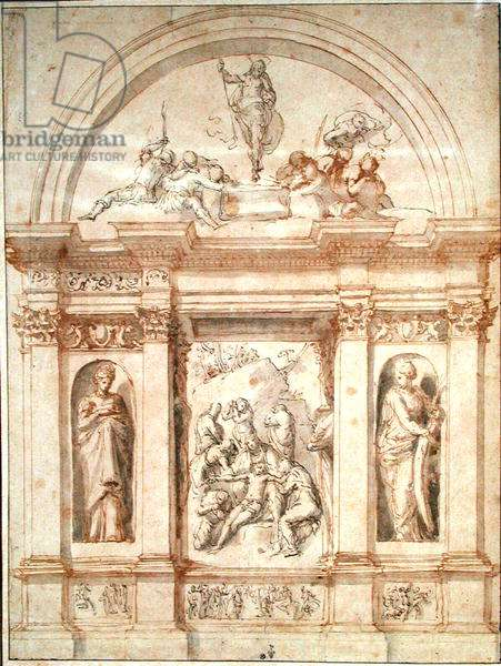 Design for the decoration of a chapel with the lamentation of Christ and the resurrection, c.1526-27 (pen & brown ink on paper)