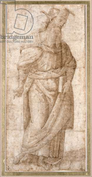 Standing draped male figure holding a book in his left hand, study for the Pythagoras (c.570-480 BC) in the Sala dell'Udienza of Collegio del Cambio at Perugia (pen & brown ink on paper)