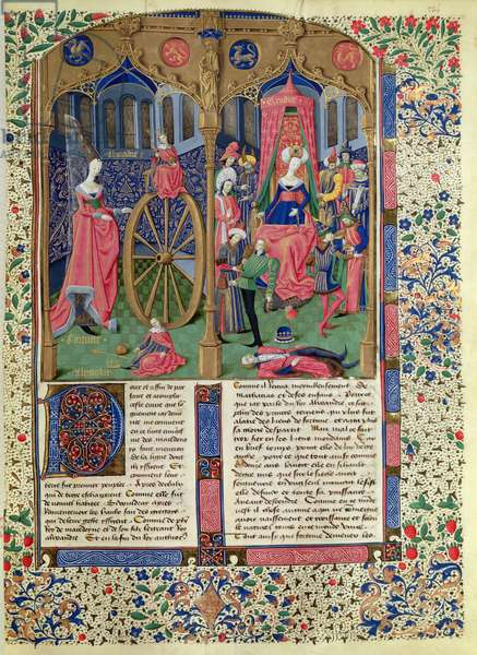 Ms 728/312 fol.224v Fortune with Alexander the Great; Giudice assists in the three phases of the poisoning of Alexander, French edition of original by Jean de Courcy (c.1350-1431) (vellum)