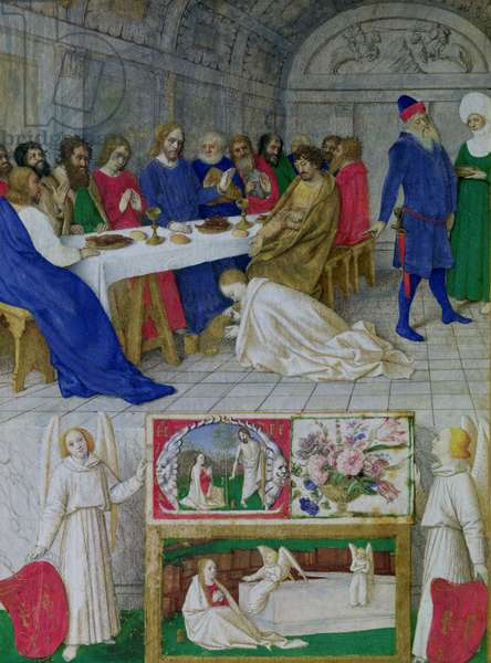 Ms 71 Mary Magdalene washing Christ's feet, from the Hours of Etienne Chevalier, c.1445 (vellum)