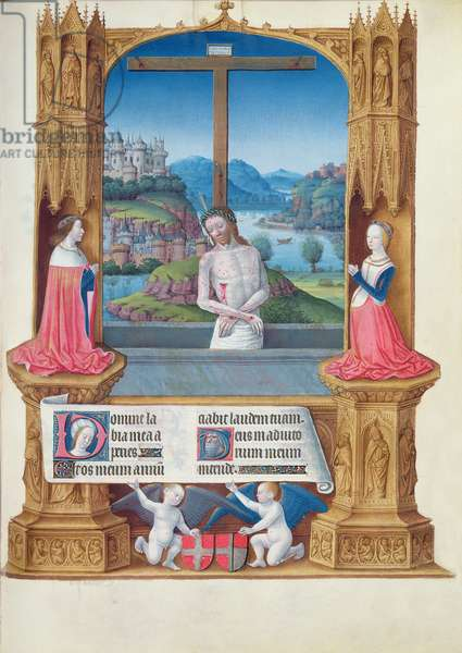 Ms 65/1284 f.75r Christ of Pity Adored by the Duke and Duchess of Savoy, from the Tres Riches Heures du Duc de Berry (vellum)
