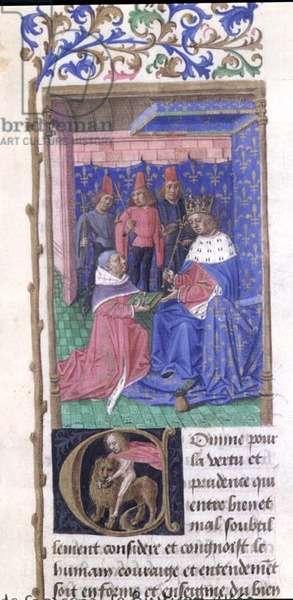 Ms 340/603 Charles V (1338-80) receiving 'Le Rustican' from the author Pietro de Crescenzi (1230-1320) c.1460 (vellum)