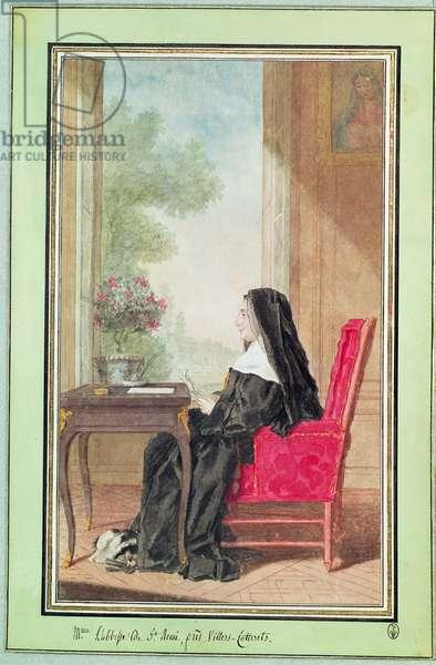 Madame de Chanut, Abbess of St. Remi, c.1760 (pencil, w/c & gouache on paper)