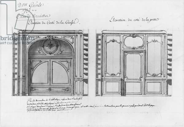 Plan and Elevation of the decoration of the library of Madame Adelaide (pen & ink and w/c on paper) (b/w photo)