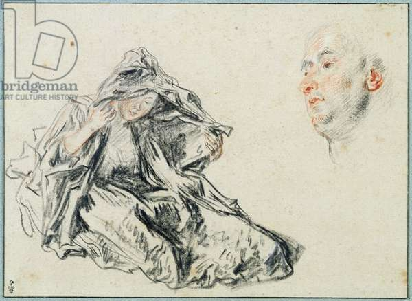 Seated Woman Wearing a Veil and the Head of a Man, c.1717-18 (pencil & red chalk on paper)