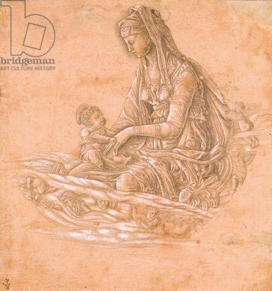 Virgin and Child on a cloud surrounded by angels, c.1460 (silverpoint on paper)