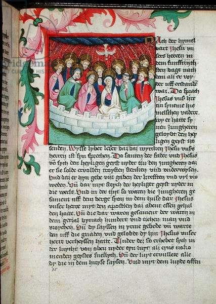 Ms 35/1455 fol.170v Pentecost, from 'The Life of Jesus' (vellum)